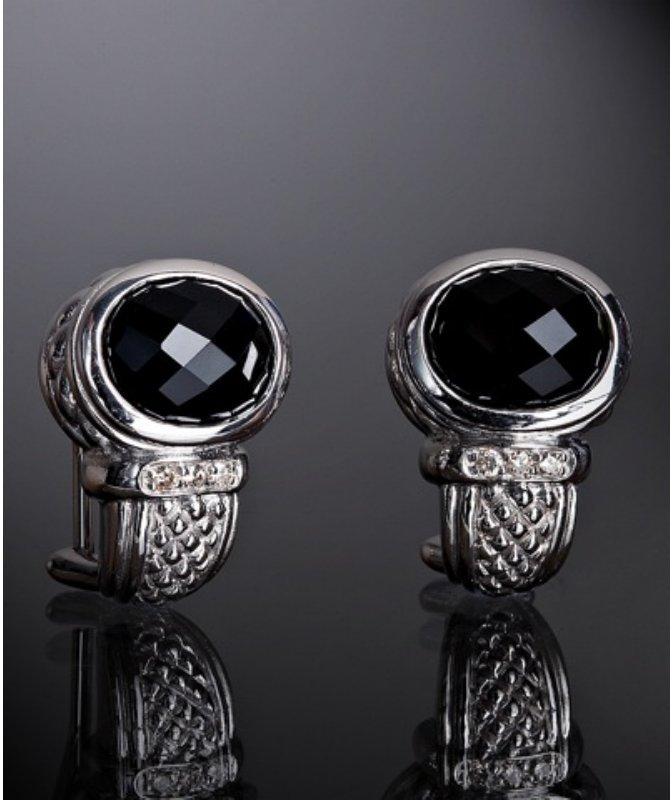 Judith Ripka black onyx and diamond medium j hoop earrings