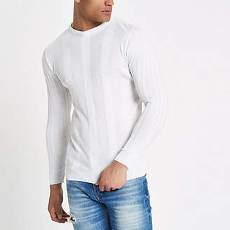 River Island White long sleeve ribbed muscle fit sweater