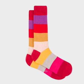 Men's Red Colour-Block Stripes Socks $30 thestylecure.com