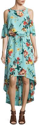 BELLE + SKY Short Sleeve Cold Shoulder High Low Dress