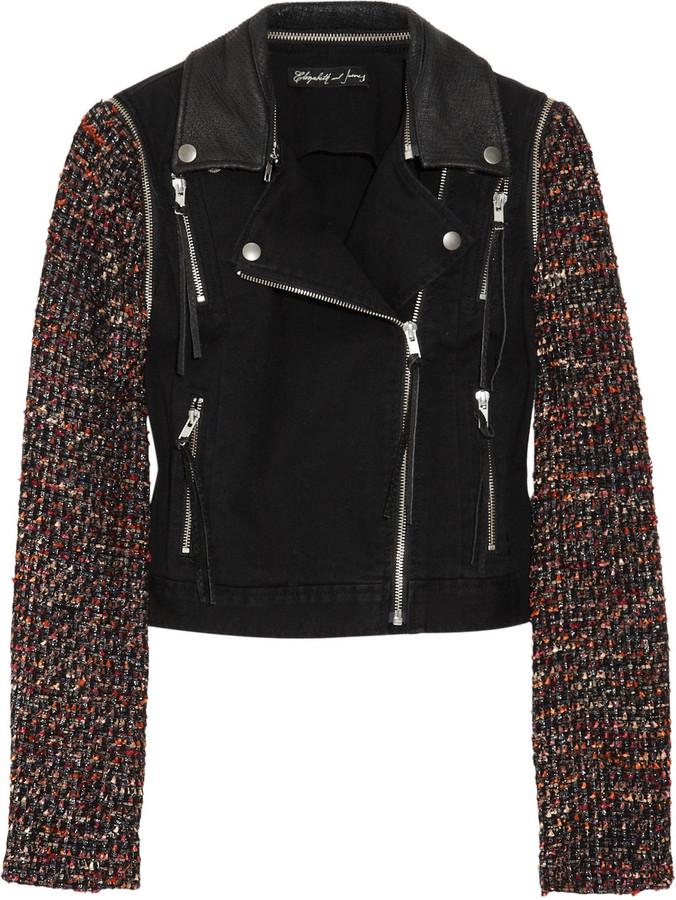 Elizabeth and James New Rory bouclé-sleeved denim biker jacket
