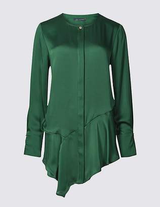 Marks and Spencer Round Neck Longline Long Sleeve Blouse