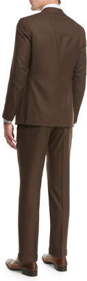 Isaia Sanita Solid Wool Two-Piece Suit, Brown