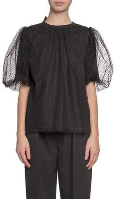 Marc Jacobs Pouf-Sleeve Organza-Layered T-Shirt