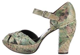 Gianni Barbato Snakeskin Platform Sandals