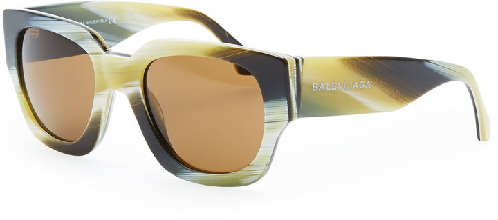 Balenciaga Thick Square Acetate Sunglasses, Yellow Faux Horn