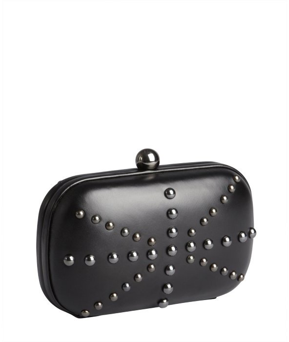 Wyatt black leather dome studded minaudiere clutch