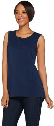 Halston H By H by V-Neck Button Front Tank