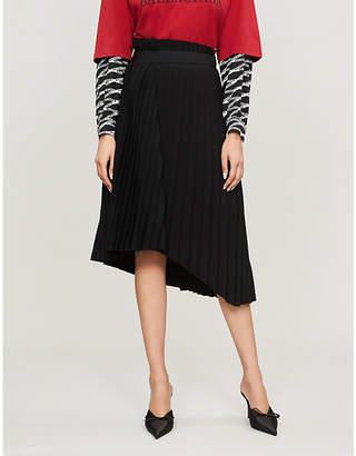 Balenciaga Logo-waistband pleated stretch-jersey midi skirt