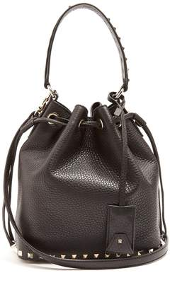 Valentino Rockstud bucket grained-leather cross-body bag