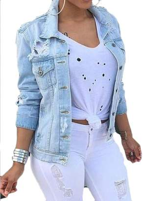 452a15614ceca SHOWNO Womens Ripped Destroyed Button Down Stylish Plus Size Denim Jacket  Jean Coat 2XL