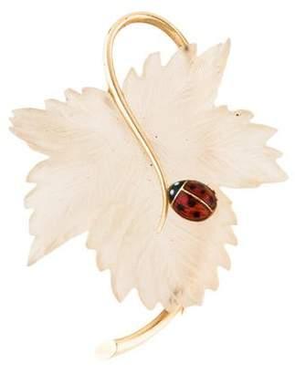14K Quartz Leaf & Enamel Ladybug Brooch