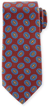 Kiton Fancy Ovals Silk Tie, Red