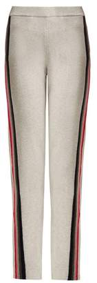 Allude Intarsia Stripe Wool Blend Track Pants - Womens - Grey Multi
