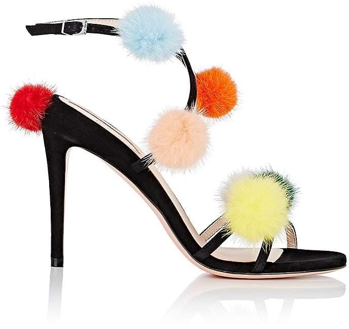 Fendi Women's Mink-Fur-Embellished Suede Sandals
