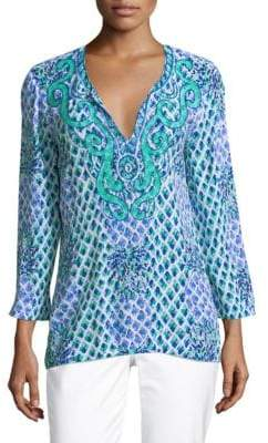 Lilly Pulitzer Amelia Island Embroidery Blouse