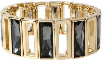 WORTHINGTON Worthington Black Rectangle Stone Gold-Tone Wide Stretch Bracelet