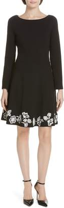 Kate Spade Embroidered Ponte Fit & Flare Dress