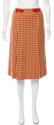 Celine Gingham Wool Skirt