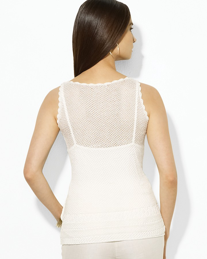 Lauren Ralph Lauren Sleeveless Open-Knit Linen-Blend Scoopneck Tank
