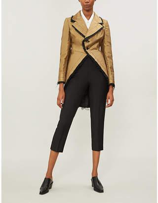 Comme des Garcons Metallic frill-trimmed wool-blend coat