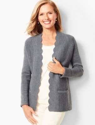 Talbots Merino Scallop-Edge Sweater Jacket