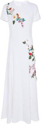 Carolina Herrera Short Sleeve Embroidered Midi Dress