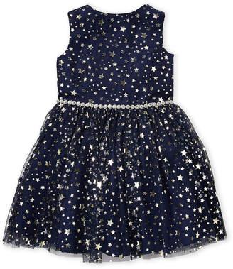 Pippa & Julie (Toddler Girls) Navy Gold Star Tulle Dress