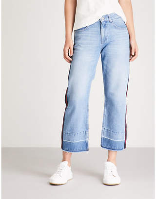 Claudie Pierlot Player side-stripe flared high-rise jeans