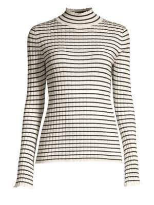 Joie Gestina Striped Rib-Knit Turtleneck