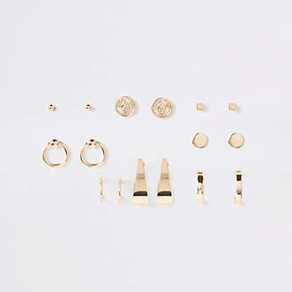 River Island Gold tone coin and hoop stud earrings pack