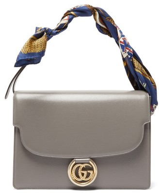 Gucci Gg Ring Silk Scarf Handle Leather Bag - Womens - Grey