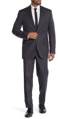 Jack Victor Napoli Black Woven Two Button Notch Lapel Wool Suit