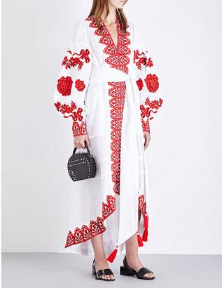 Yuliya Magdych Gzhel linen kaftan dress