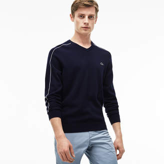 Lacoste Men's V-neck Piped Jersey And Cotton Pique Sweater