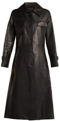 Nili Lotan - Point Collar Leather Trench Coat - Womens - Black