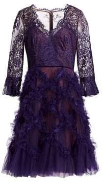 Marchesa Women's Lace and Lattice Tulle Dress - Purple - Size 12