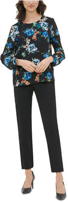 Calvin Klein Printed Cinch-Sleeve Blouse
