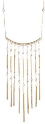 Jenny Packham Pave Glass Crystal Pendant Fringe Necklace