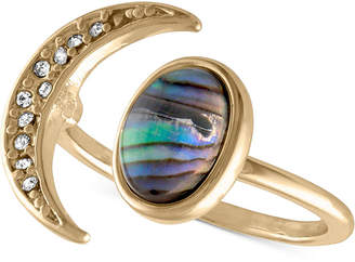 Rachel Roy Gold-Tone Pave Moon & Abalone Stone Ring
