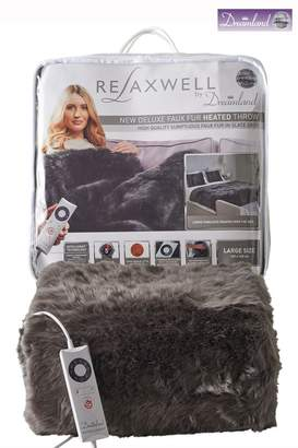 Dreamland Relaxwell Faux Fur Heated Throw - Grey