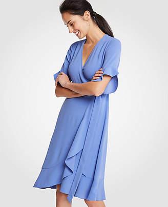 Ann Taylor Flounce Hem Wrap Dress