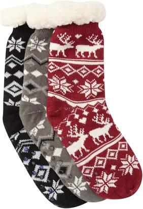Sock Hub Fleece Lined Slipper Socks - Pack of 3