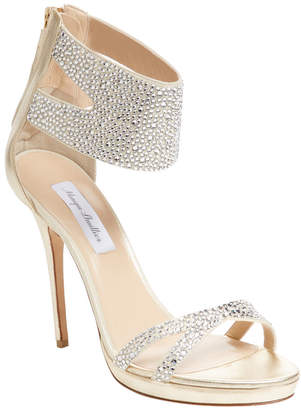 Monique Lhuillier Embellished Metallic Leather Ankle-Wrap Sandal
