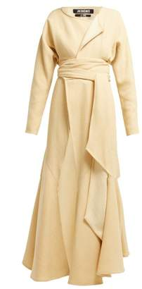 Jacquemus Viavelez Draped Wool Blend Dress - Womens - Yellow