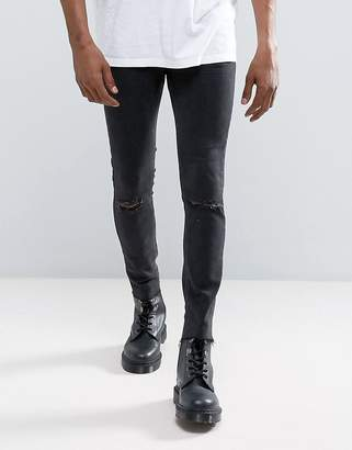 Mennace Super Skinny Jean With Rips and Raw Hem In Black