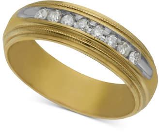 Macy's Men's Diamond Wedding Band (1/5 ct. t.w.) in 14k Gold