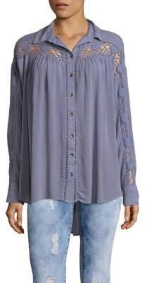 Free People Crochet Button-Down Shirt