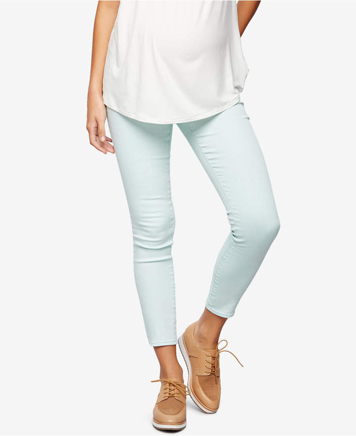 A Pea In The PodA Pea in the Pod Maternity Ankle Skinny Jeans, Teal Denim Wash