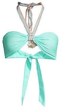 Paper London Women's Woven Trim Halter Bandeau Bikini Top